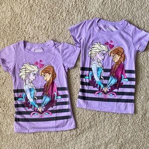 ⭐️ 2 Disney Frozen TShirts w Elsa & Anna sz 7/8